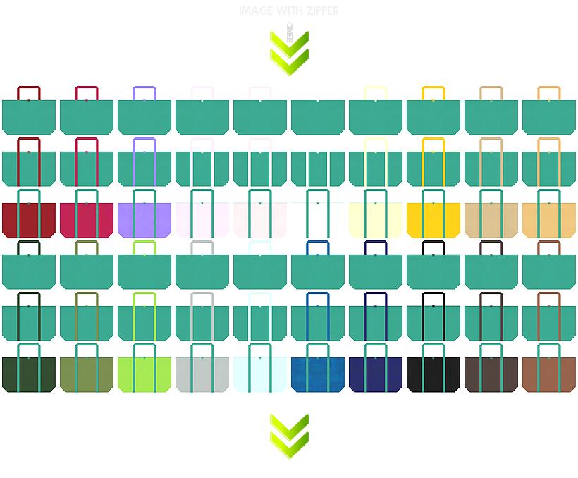 マイバッグ・エコバッグにお奨めのファスナー付き不織布バッグのデザイン:青緑色のコーデ84例