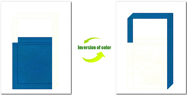 青色とオフホワイト色の不織布ショルダーバッグのデザイン:人工知能・LED・水素のイメージにお奨めの配色です。