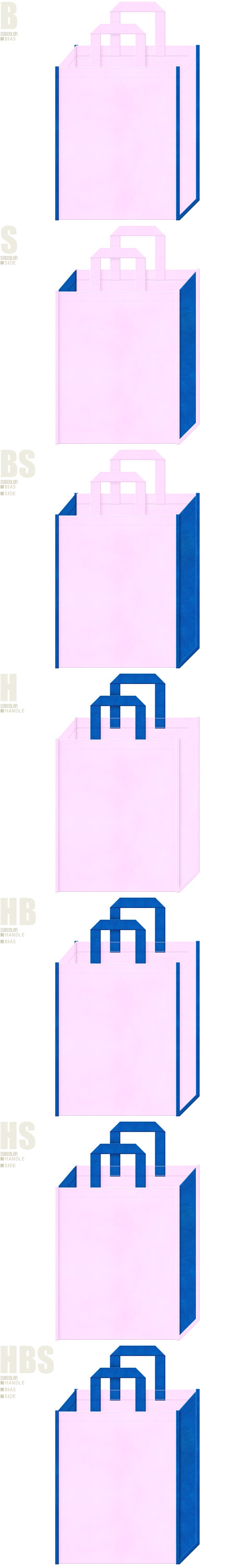 不織布トートバッグのデザイン例-不織布メインカラーNo.37+サブカラーNo.22の2色7パターン