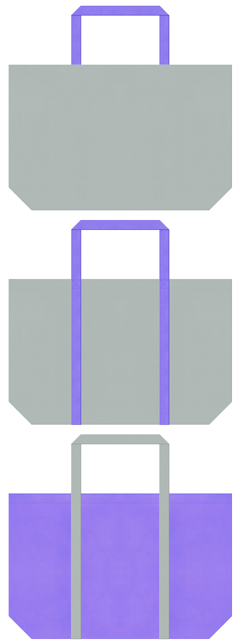 グレー色と薄紫色の不織布エコバッグのデザイン。