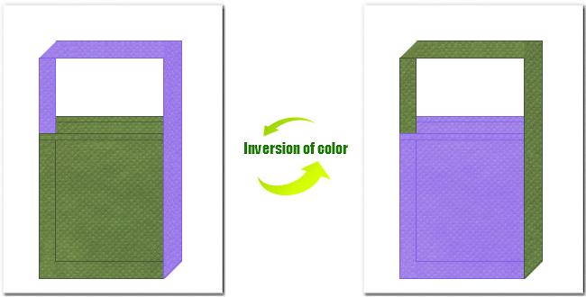 草色と薄紫色の不織布ショルダーバッグのデザイン:花菖蒲風の配色で、和風柄にお奨めです。