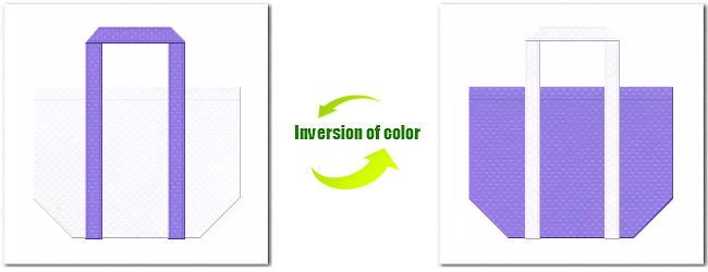不織布No.15ホワイトと不織布No.32ミディアムパープルの組み合わせのショッピングバッグ