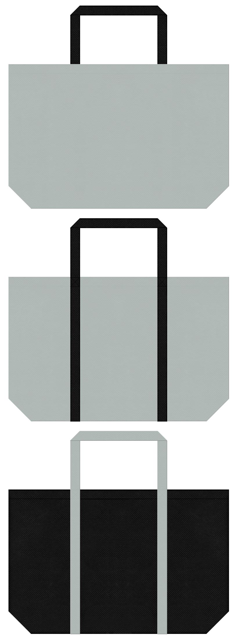 グレー色と黒色の不織布エコバッグのデザイン。タイヤ・ホイール・カー用品のイメージにお奨めの配色です。
