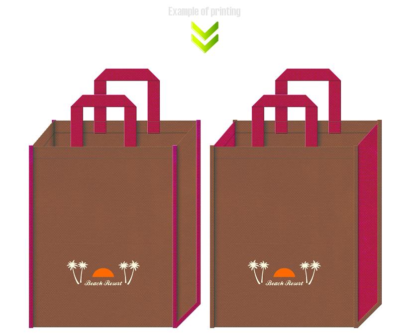 ビーチリゾートをイメージした不織布バッグデザイン例。