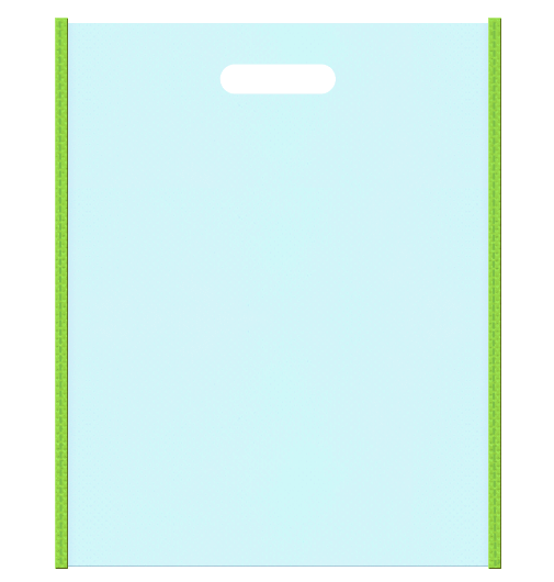 新緑、新鮮な空気イメージの不織布バッグにお奨めの配色です。メインカラー水色とサブカラー黄緑色。