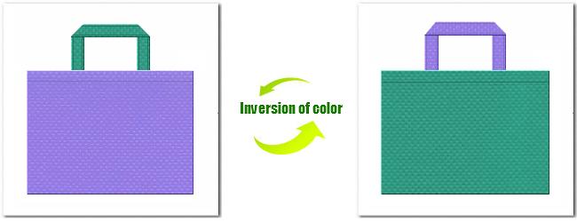 不織布No.32ミディアムパープルと不織布No.31ライムグリーンの組み合わせ