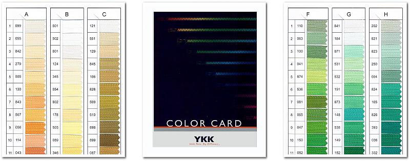 YKKカラーカードよりテープカラーのご指定が可能です。