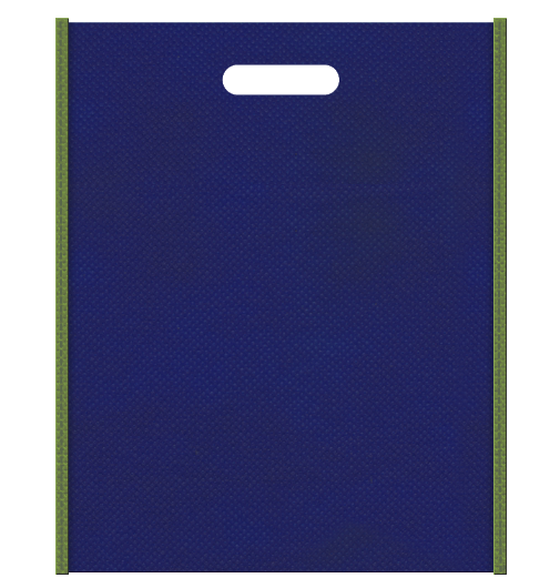 不織布バッグ小判抜き メインカラー明るい紺色とサブカラー草色
