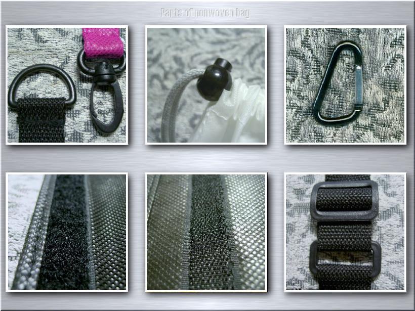 不織布リュックサックのオリジナル制作に使用できる付属パーツ例