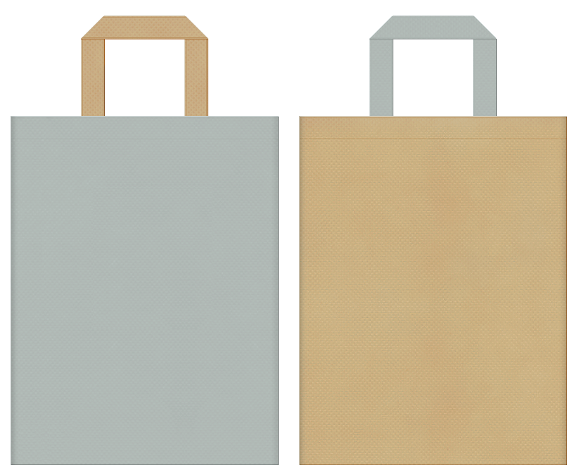 不織布バッグの印刷ロゴ背景レイヤー用デザイン:グレー色とカーキ色のコーディネート