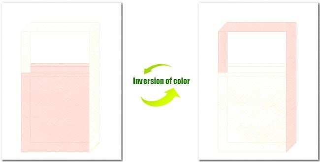 桜色とオフホワイト色の不織布ショルダーバッグのデザイン