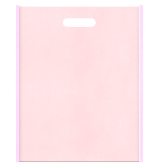 Girlyな不織布小判抜き袋のデザイン。メインカラー明るめのピンク色とサブカラー桜色の色反転