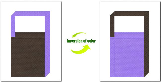 こげ茶色と薄紫色の不織布ショルダーバッグのデザイン:コスプレイベントのノベルティーにお奨めです。