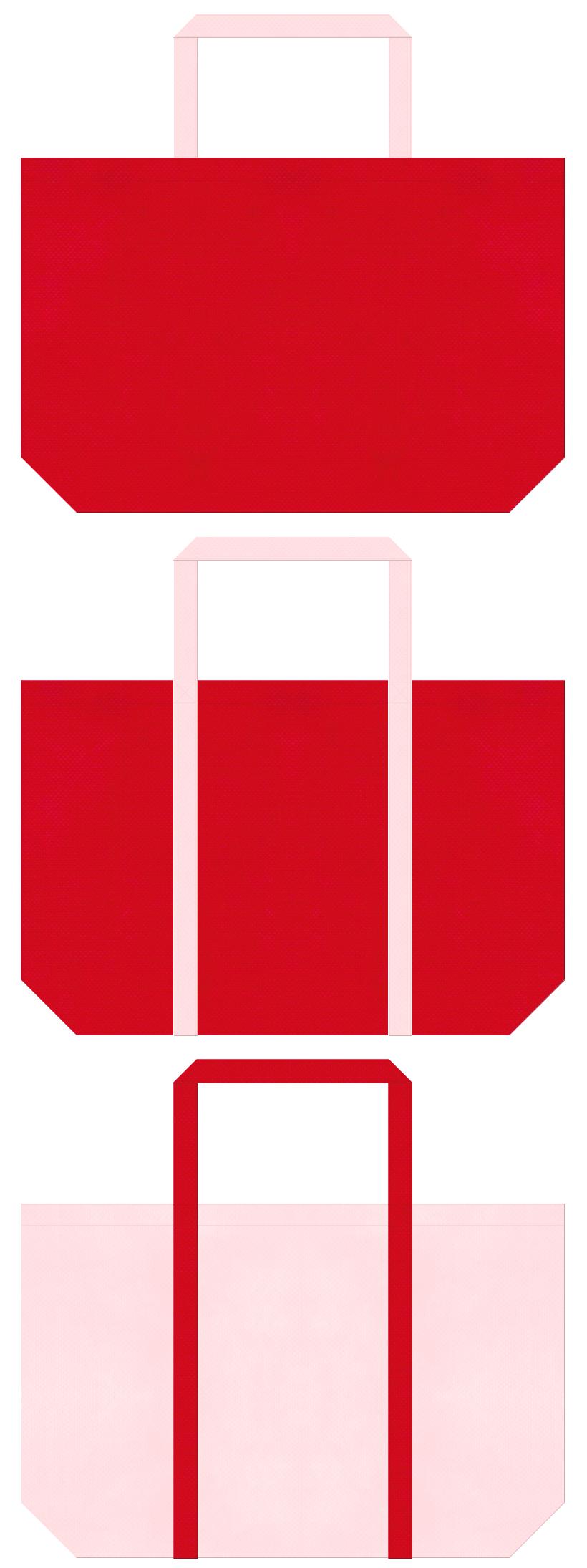 不織布ショッピングバッグのデザイン:紅色と桜色のコーデ。ひな祭り商品のショッピングバッグにお奨めです。