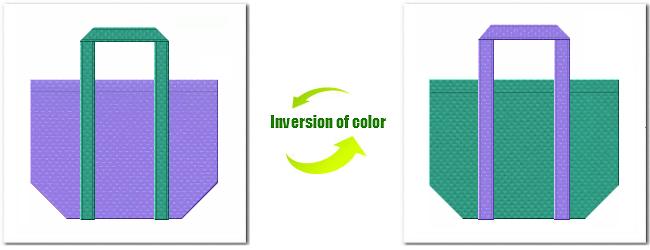 不織布No.32ミディアムパープルと不織布No.31ライムグリーンの組み合わせのショッピングバッグ