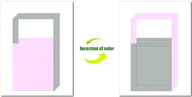 明ピンク色とグレー色の不織布ショルダーバッグのデザイン