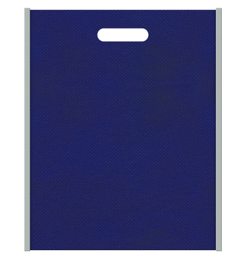 不織布バッグ小判抜き メインカラー明るい紺色とサブカラーグレー色