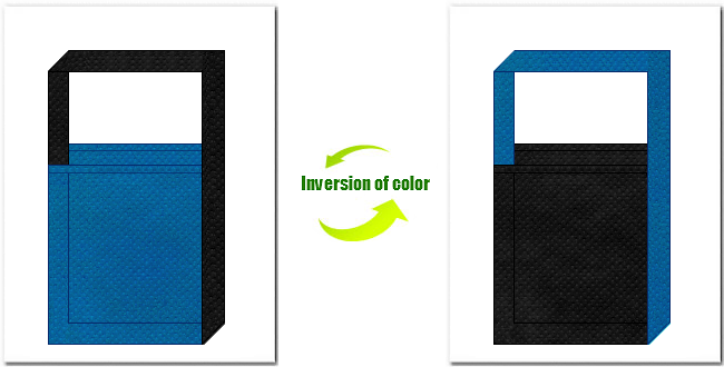 青色と黒色の不織布ショルダーバッグのデザイン