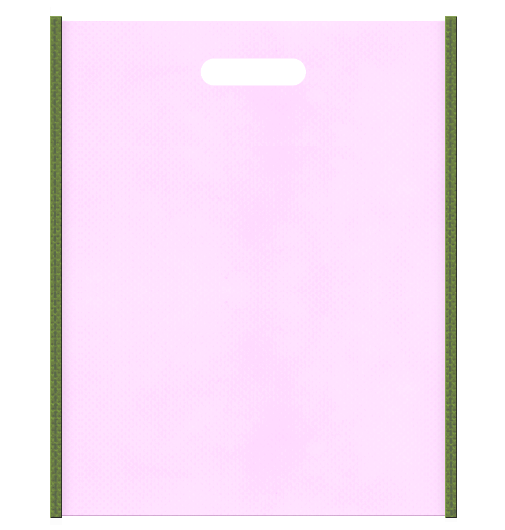 不織布バッグ小判抜き メインカラー草色とサブカラー明るめのピンク色の色反転