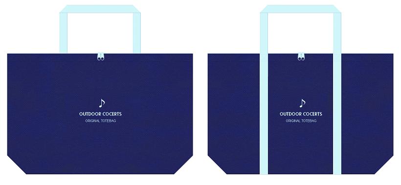 明るい紺色と水色の不織布エコバッグのデザイン:野外コンサート