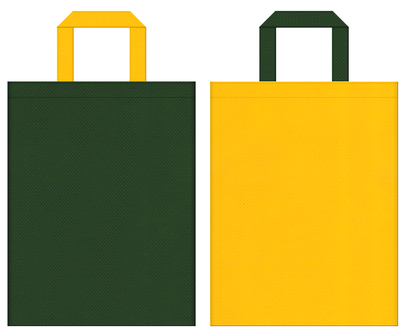 パイナップル・かぼちゃ・電気工事・発電機・安全用品・防災・懐中電灯・ランタン・登山・キャンプ・アウトドアイベントにお奨めの不織布バッグデザイン:濃緑色と黄色のコーディネート