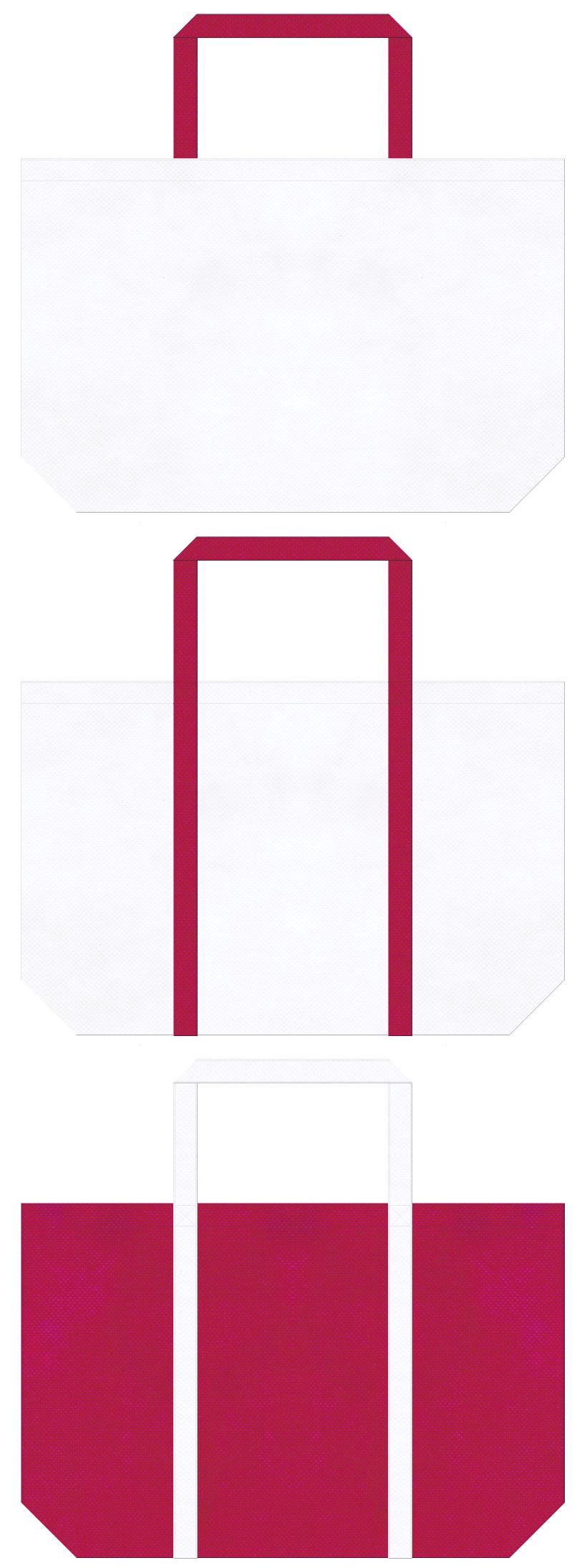 白色と濃いピンク色の不織布ショッピングバッグデザイン:スポーティーなイメージにお奨めの配色です。
