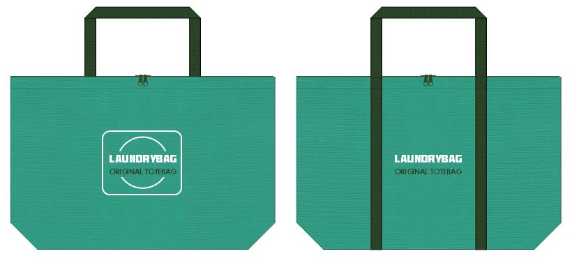 青緑色と濃緑色の不織布バッグのデザイン:ファスナー付きのランドリーバッグ