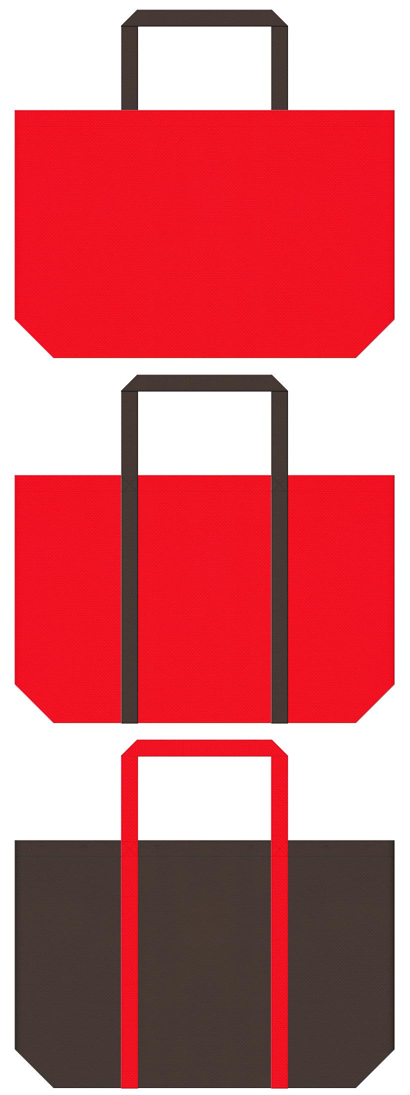 暖炉・ストーブ・暖房器具・トナカイ・クリスマスセールにお奨めの不織布ショッピングバッグのデザイン:赤色とこげ茶色のコーデ