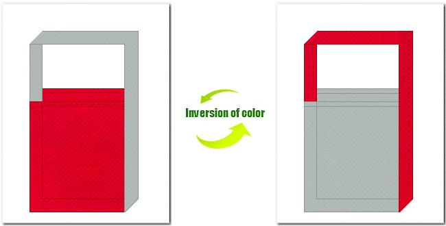 紅色とグレー色の不織布ショルダーバッグ