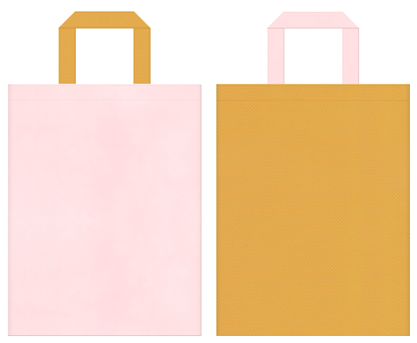 テーマパーク・おとぎ話・絵本・キャンディー・スイーツ・ガーリーデザインにお奨めの不織布バッグデザイン:桜色と黄土色のコーディネート