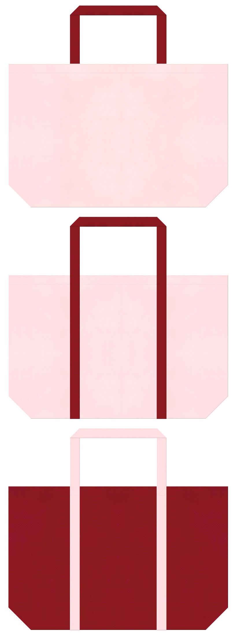 桜色とエンジ色の不織布ショッピングバッグデザイン。