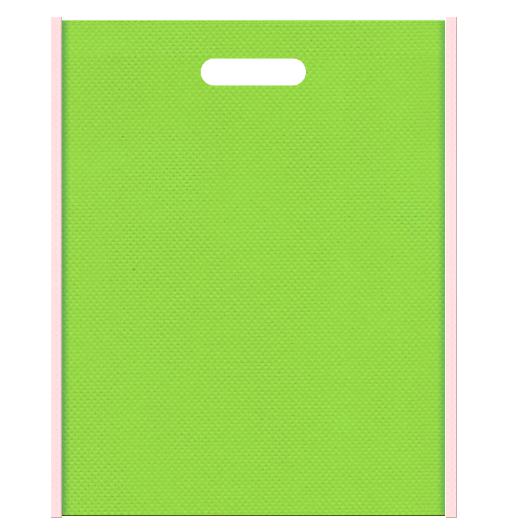 葉桜風の不織布バッグ小判抜きデザイン:メインカラー黄緑色、サブカラー桜色。和風柄の印刷にお奨めです。