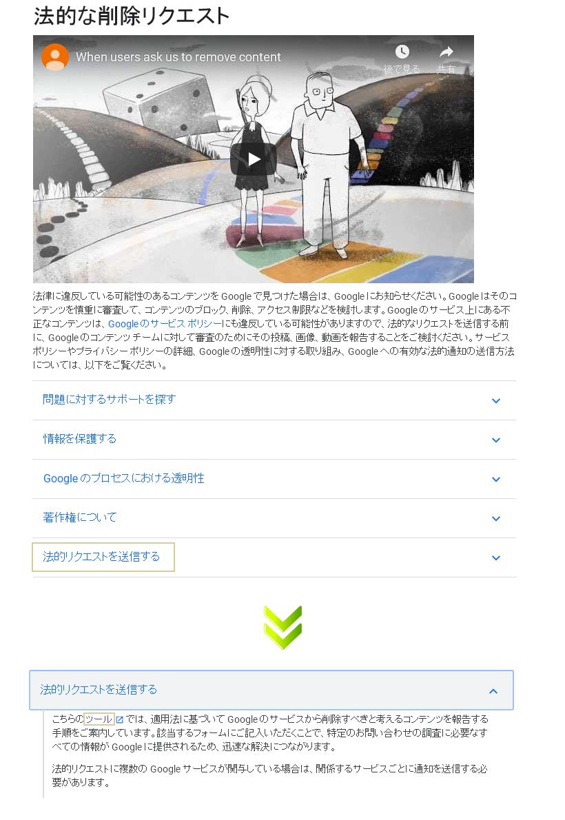 DMCAに基づいた対処・・・Googleへの法的リクエスト送信ツールの表示