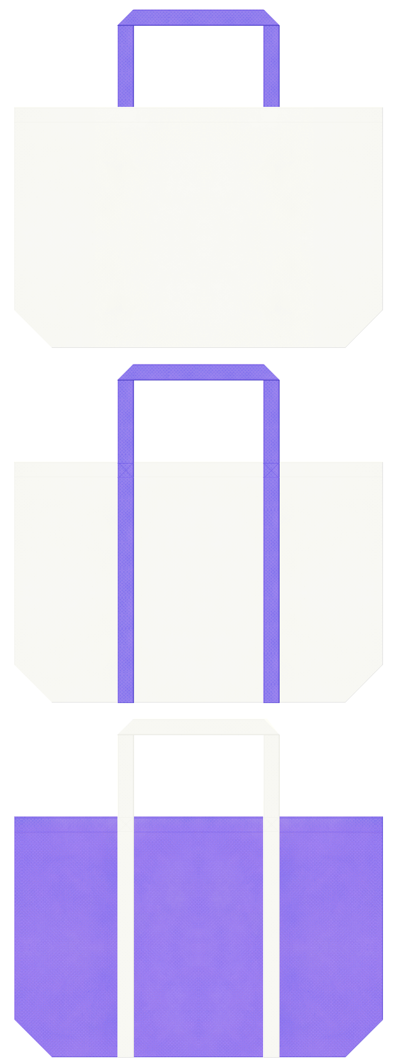 オフホワイト色と薄紫色の不織布ショッピングバッグのデザイン:空調・衛生設備にお奨めの配色です。