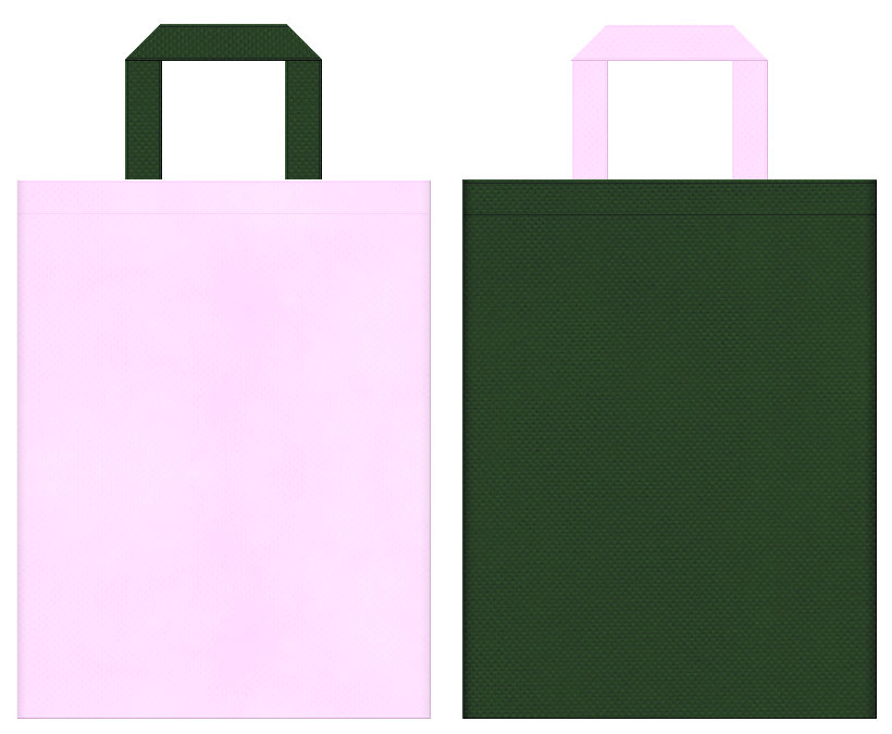 学校・学園・オープンキャンパス・振袖・卒業・桜・メモリー・写真館・生け花・和風催事にお奨めの不織布バッグのデザイン:パステルピンク色と濃緑色のコーディネート