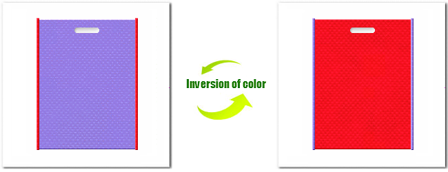 不織布小判抜き袋:No.32ミディアムパープルとNo.6カーマインレッドの組み合わせ