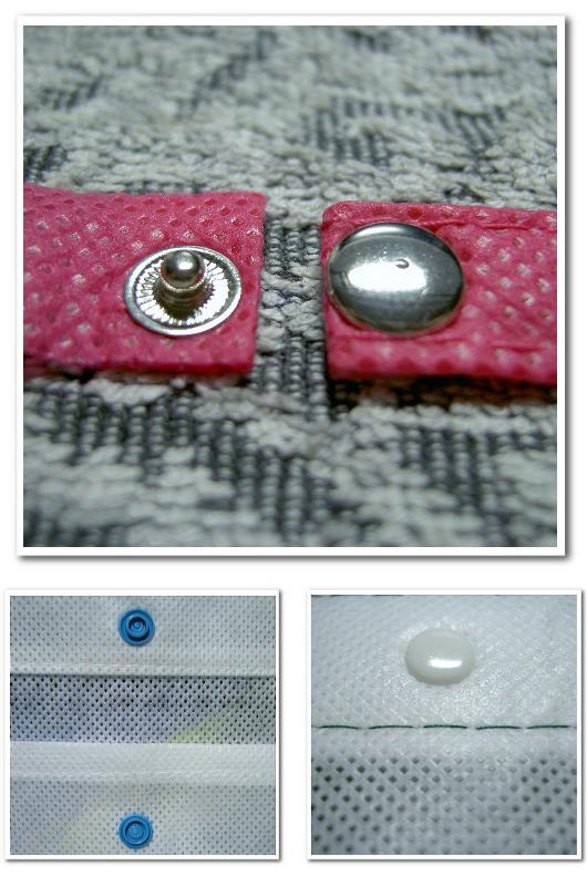 不織布バッグオリジナル制作用の付嘱パーツ:ホック。上写真-金属製のホック。下写真-樹脂製ホック