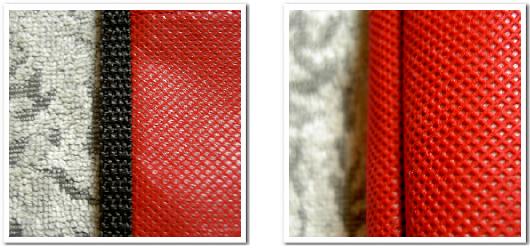 不織布バッグの縫製方法、バイアス巻き縫製の解説写真 左がバッグの外側・右がバッグの内側を撮影