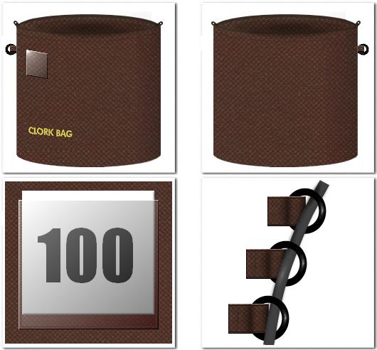 クローク用不織布バッグのオリジナル制作:前面に名札等を入れる透明ポケット、側面に盗難防止用のチェーン等を通すDカンを縫製