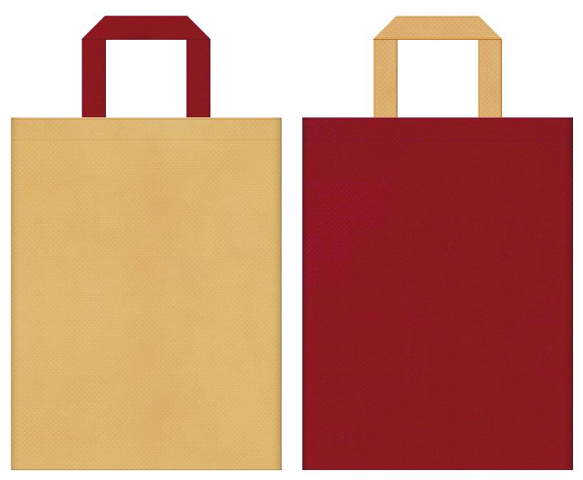 不織布バッグの印刷ロゴ背景レイヤー用デザイン:薄黄土色とエンジ色のコーディネート:落語・演芸場のバッグノベルティにお奨めの配色です。