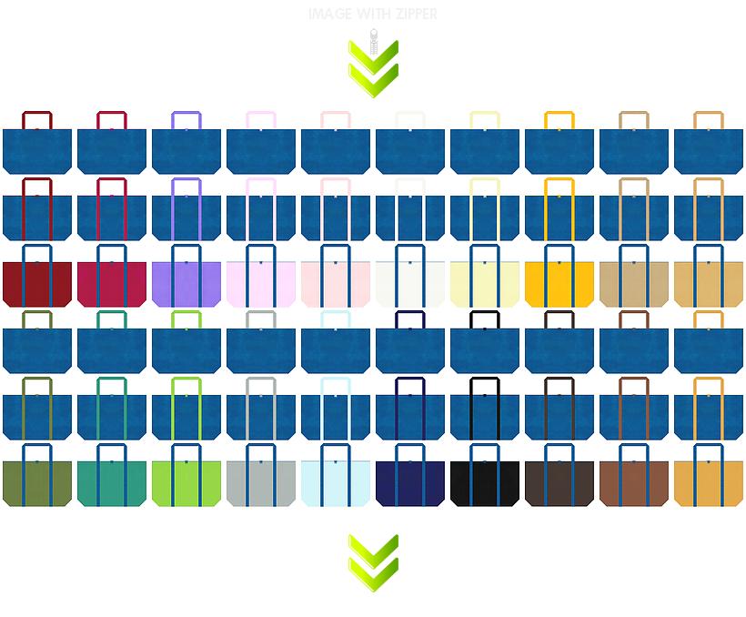 ファスナーの付いた青色の不織布ショッピングバッグのデザイン84例:ロボット・LED・AI・電子部品・セキュリティの展示会用バッグ・CO2削減・水資源・環境イベント・父の日・ホビーのショッピングバッグにお奨め