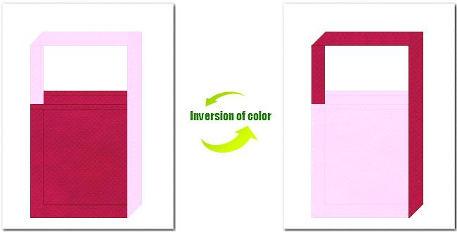 濃ピンク色と明ピンク色の不織布ショルダーバッグ