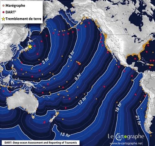 Carte de l'océan Pacifique montrant l'avancée du tsunami heure par heure. On osberve que tous les pays autour du Pacifique sont touchés par la vague géante. Sources: le cartographe.