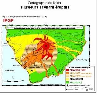 Carte de l'aléa volcanique du volcan Soufrière. Sources: crédits: Documents IPGP et documents BRGM