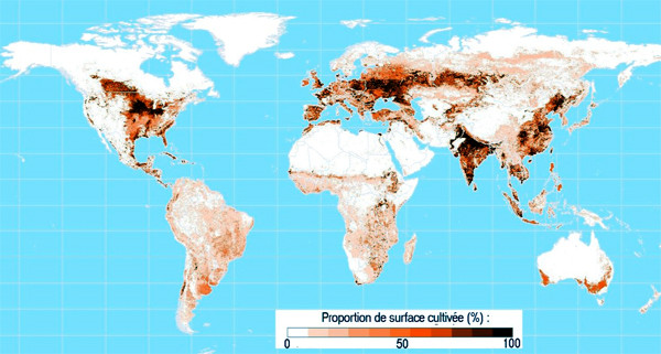 Proportion de surface agricole pour chaque pays. Source : adapté de l'Atlas de la Biosphère, Université de Wisconsin, 1999
