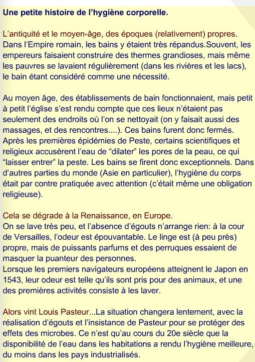Petite histoire de l'hygiène corporelle.Source: http://svtcol.free.fr/spip.php?article609