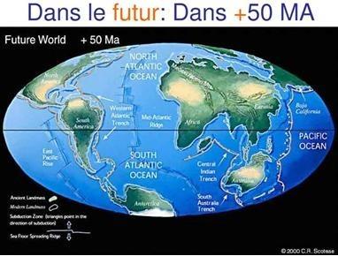 Position des continents après déplacement des plaques dans 50 Ma.