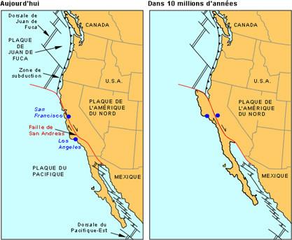 Faille transformante de San Andréas en Californie.Elle fait peu à peu remonter la Californie vers le nord et à chacun de ses déplacements brusque se produit un séisme.