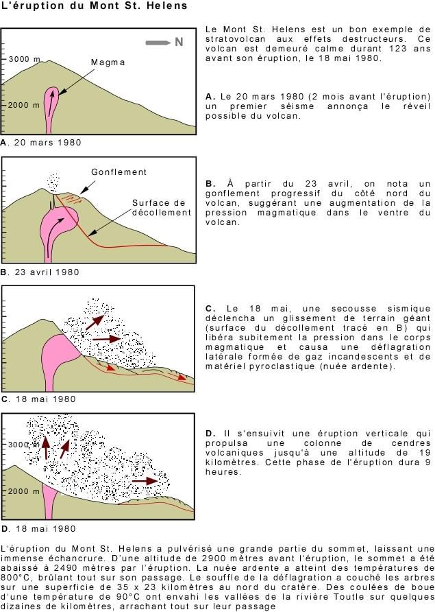 Les différentes étapes d'une éruption volcanique explosive. Exemple du volcan Mont Saint Helens, USA.