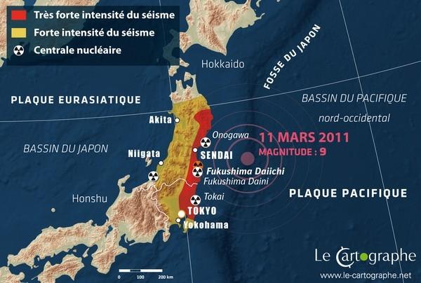 Carte localisant l'épicentre du séisme ayant causé le tsunami qui ravagea la côte est du pays et entraina la catastrophe nucléaire de Fukushima. Sources: le cartographe.